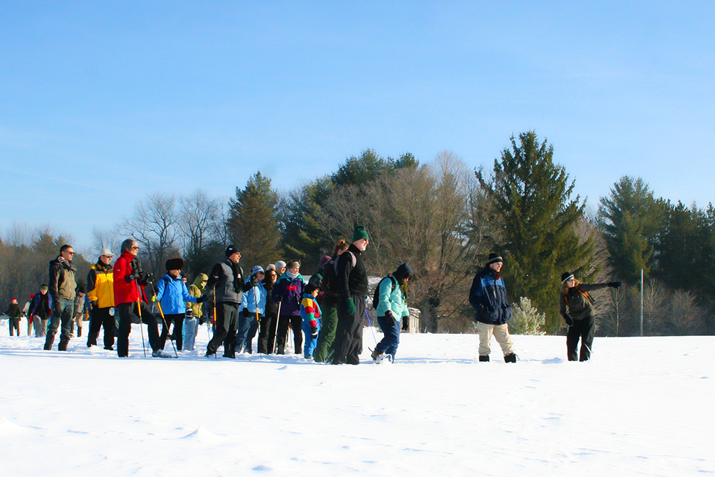 A group of adults at a snowshoeing event