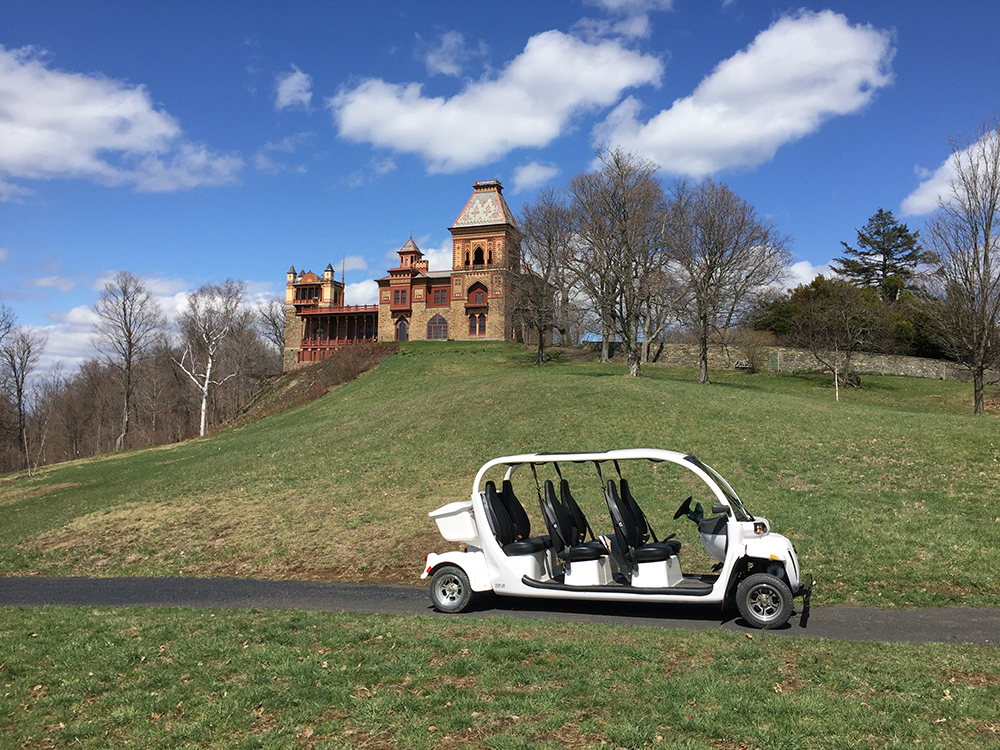 Electric vehicle used for tours at Olana State Historic Site in Hudson, NY